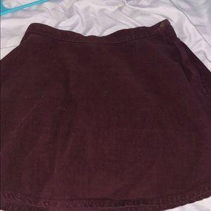 Maroon corduroy circle skirt